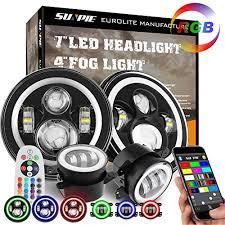 2017 jeep wrangler fog light bulb size 7 led headlights with rgb halo 4 led fog lights for jeep