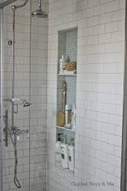 tall shower niches blue brown and subway tile home decor shower niche tutorial small bathroom