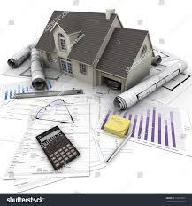 house on top table mortgage application stock illustration a house on top of a table with mortgage application form calculator blueprints
