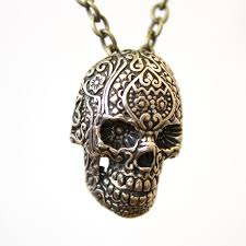 skull pendant necklace images Sugar skull necklace bronze sugar skull pendant necklace etsy jpg