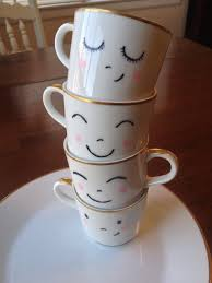 i could draw faces on some plain coffee cups cute u2022 d i y