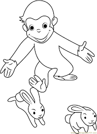 curious george playing rabbit coloring free curious