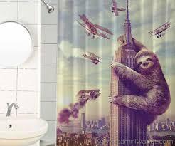 slothzilla funny waterproof shower curtain u2013 damn i want it