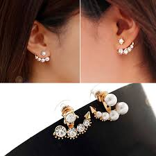 front and back earrings xe404 fashion front back earrings pearl ear earbobs studs