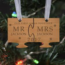 personalised wooden our first christmas jigsaw tree decoration