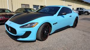 maserati granturismo convertible blue halo efx glacier blue with matte black accents on this maserati