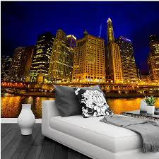 wallpaper white and silver picture more detailed picture about 3d wallpaper beautiful night view of chicago golden buildings under the light living