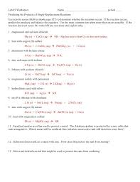 single replacement reaction worksheet answers worksheets