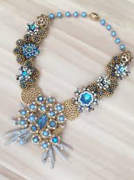 gold crystal beaded necklace images Statement beaded necklace made from glacier blue swarovski jpg