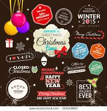 set typographic elements christmas vector collection stock vector