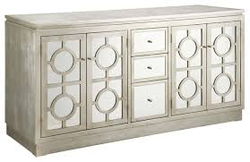 Buffet Cabinets And Sideboards Circles Silver Finished Mirrored 3 Drawer 4 Door Buffet Cabinet