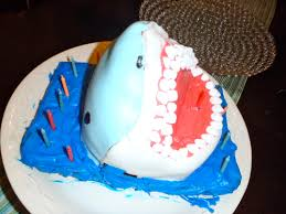 shark cake greatwhiteteenager diving in head first