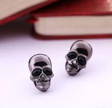 cool stud earrings cool rock tengkorak onyx black skeleton skull stud
