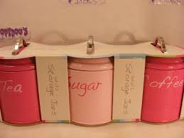 kitchen canisters set bnib set of 3 pink kitchen canisters coffee tea sugar