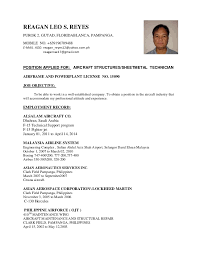 resume format for boeing cv aircraft structures technician