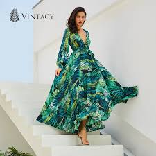 maxi dresses vintacy sleeve dress green tropical print vintage maxi
