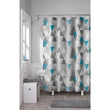 Geometric Pattern Curtains Blue Grey Geometric Pattern Shower Curtain Vinyl Abstract
