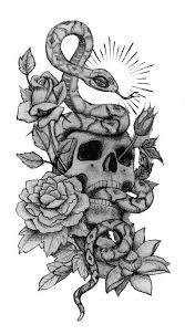 skull snake and roses designs tattoos skull