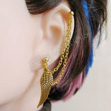 earring with chain to cartilage gold wing cartilage chain earring by merigreenleaf on deviantart
