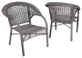 Grey Wicker Patio Furniture by Malibu Outdoor Wicker Dining Chairs Set Of 2 Gray Contemporary