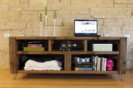 furniture stylish rustic industrial media console with bookshelf