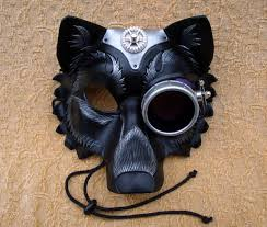 Wolf Mask Cog Monocle Industrial Wolf Leather Mask Handmade Mixed Media