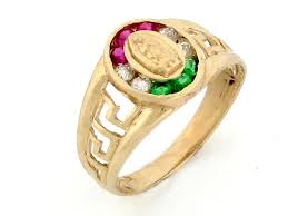 Guadalupe Flag Gold Our Lady Guadalupe Mexican Flag Color Cz Ring Jl 2532