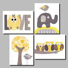 Yellow Gray Nursery Decor Yellow And Grey Nursery Artwork Yellow Gray Nursery Baby
