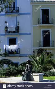 ibiza eivissa bronze sculpture house facades balconies stock