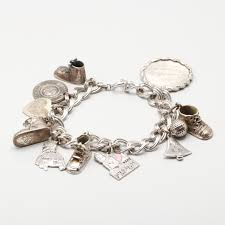 silver bracelet with stones images Sterling silver bracelet with eleven charms ebth 0&