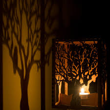 barred owl in tree laser cut wood candle luminary