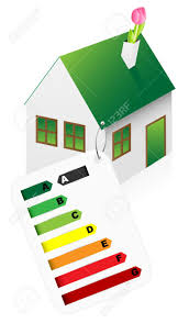 eco friendly house with energy rating graph on white background