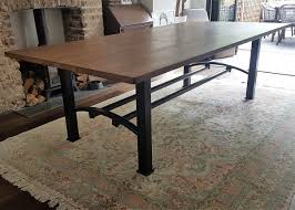 Metal Base For Trestle Table Solid Wood Dining Table Tops by Industrial Based Dining Tables From Recycled Steel And Iron With