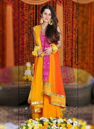 latest mehndi or mayoon dresses designs 2015 for girls in pakistan