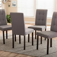 Set Of Four Dining Chairs Baxton Studio Andrew 9 Grids Gray Fabric Upholstered Dining Chairs