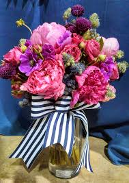 navy blue and white striped ribbon navy blue and pink ebb flow flowers
