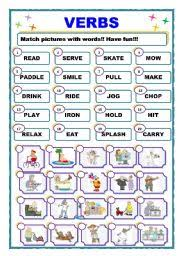 Verb Worksheets Verbs Worksheet By Fiona