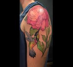 hummingbird and peony art nouveau u2013 tattoos nancy
