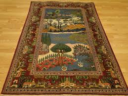 Kashan Persian Rugs by Early 1900 U0027s Ornamental Wall Hanging Persian Landscape Pictorial