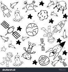 space doodle set kids black white stock vector 419682064