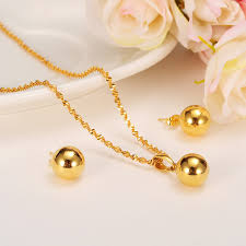 fashion necklace earring sets images Fashion cute jewelry gold round ball girls bridajewelry set for jpg