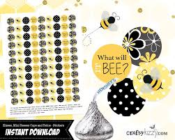bee gender reveal favors hershey kisses stickers what will it