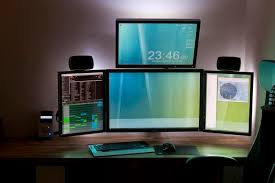 top computer desk design cool wallpapers 35 absolutely gorgeous wallpapers for dual monitors top design