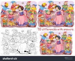 snow white seven dwarfs fairy tale stock illustration 585146056