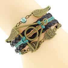 vintage infinity bracelet images Multilayer braided bracelets vintage owl harry potter wings jpg