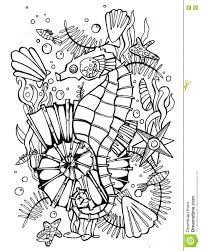 hand drawn coloring page sea stock illustration image 73969089