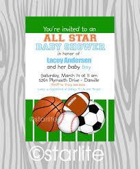 theme sports themed baby shower invitation