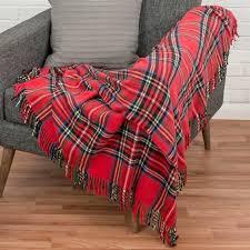 plaid canapé plaid ou jeté de canapé wallace à carreaux écossais et franges