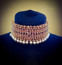 plated choker necklace images Gold plated gold crystal pearl choker necklace jhumki earrings jpeg