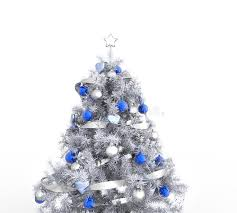 white tree with blue decorations stock illustration